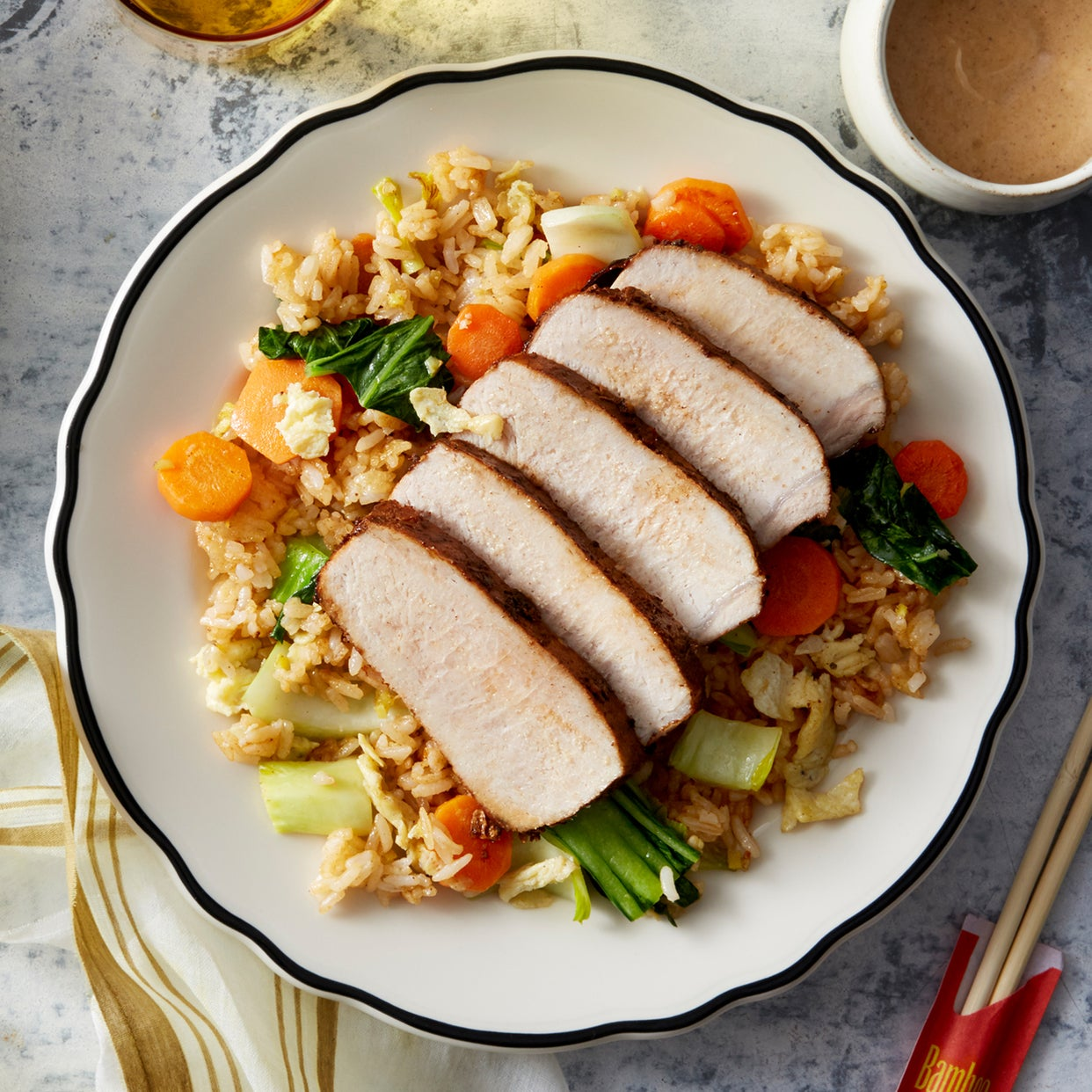 Cumin-Spiced Roast Pork with Vegetable Fried Rice