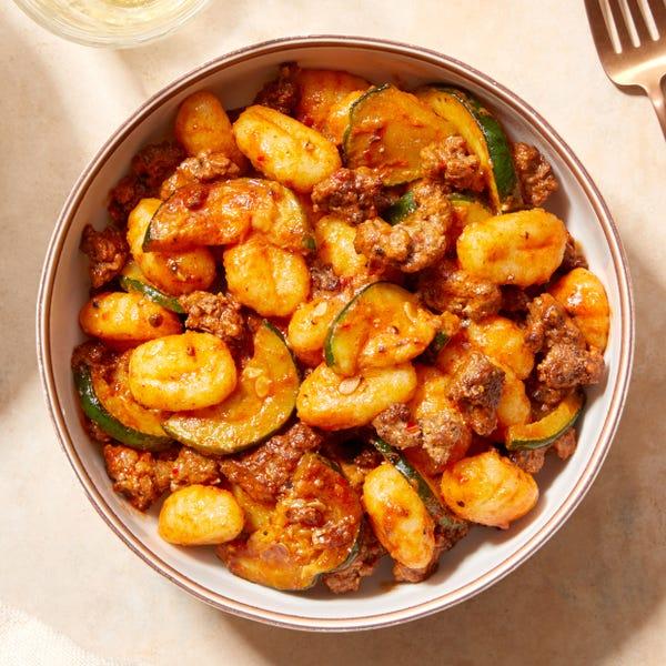 Spicy Beef & Gnocchi with Zucchini & Pecorino