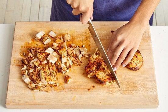 Cook & chop the chicken: