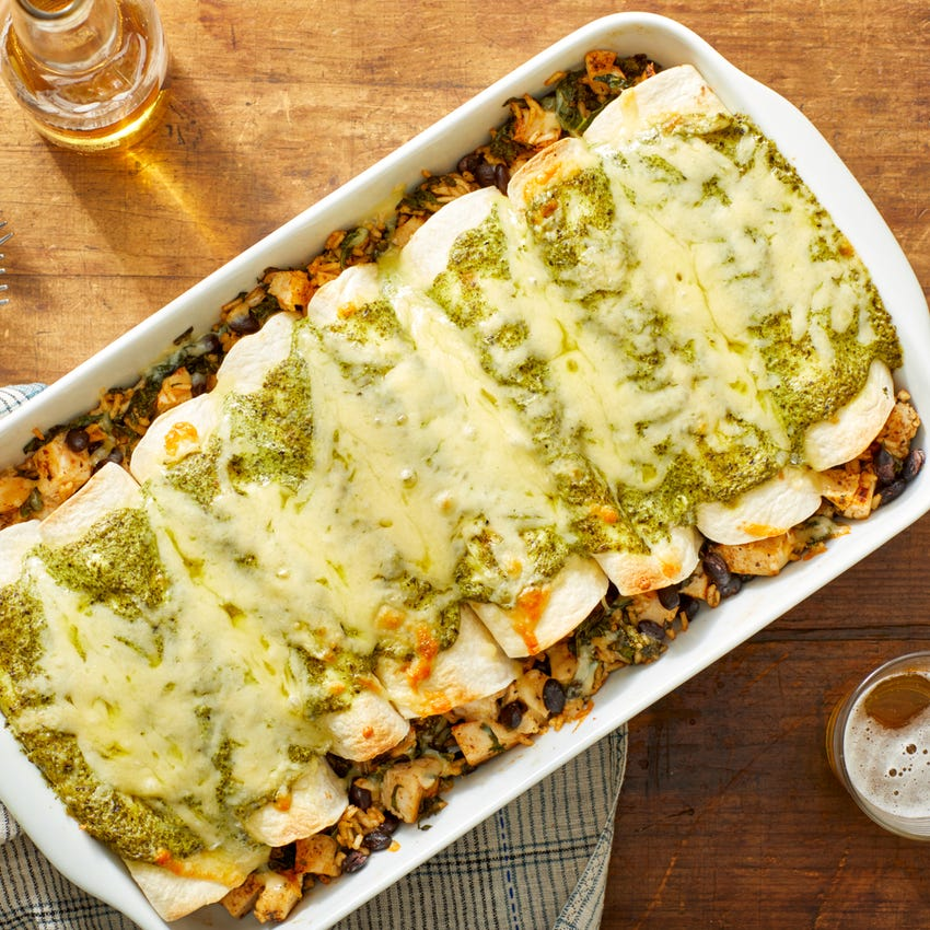 Cheesy Black Bean & Chicken Enchiladas with Creamy Cilantro Sauce