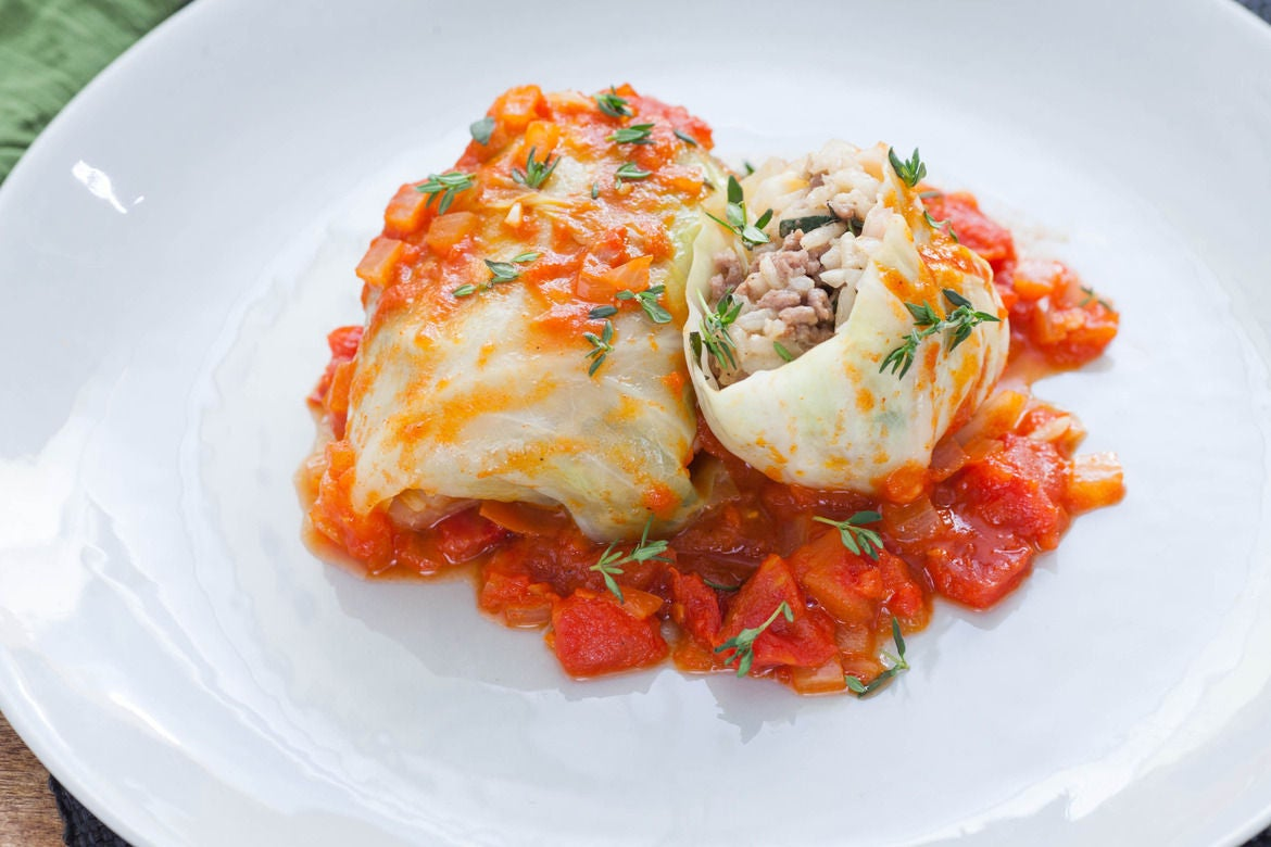 Recipe: Stuffed Cabbage Rolls with White Rice, Beef & Tomato Sauce ...