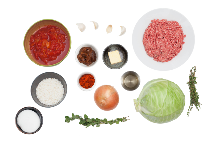 Stuffed Cabbage Rolls with White Rice, Beef & Tomato Sauce ingredients