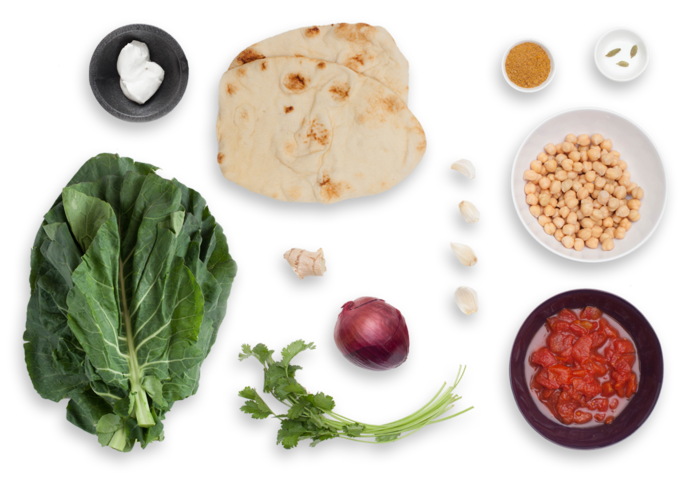 Chole Chickpea Stew with Collard Greens & Naan Bread ingredients