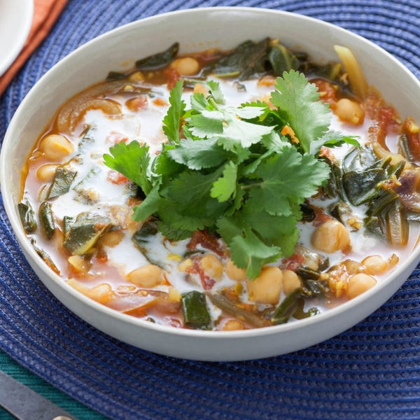 Chole Chickpea Stew with Collard Greens & Naan Bread