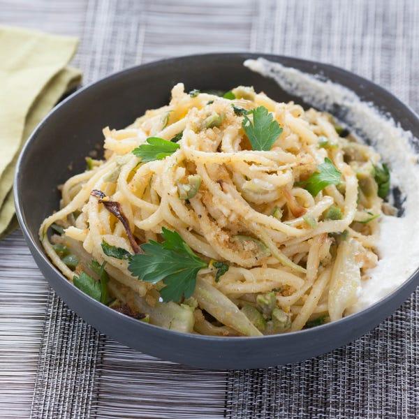 Fresh Linguine & Roasted Fennel with Lemon Ricotta, Castelvetrano Olives & Breadcrumbs