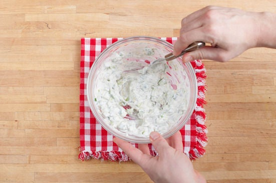 Make the tzatziki sauce: