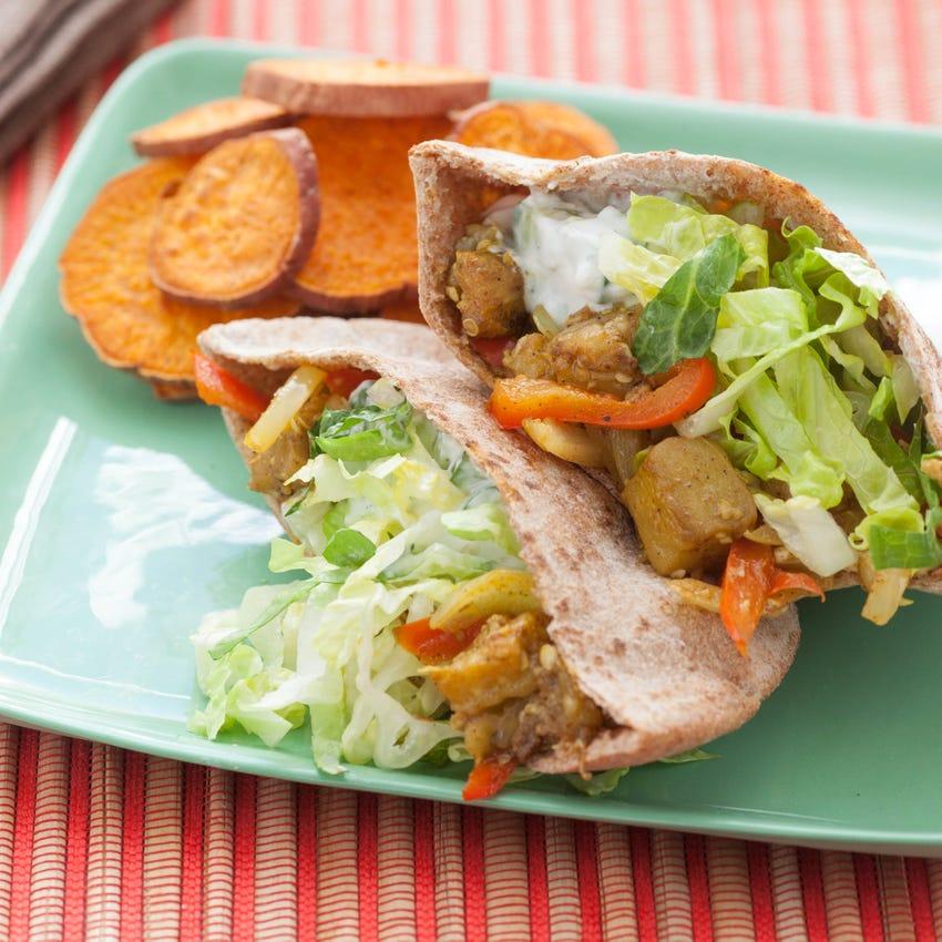 Eggplant Shawarma Tzatziki, Hummus & Baked Sweet Potato Rounds