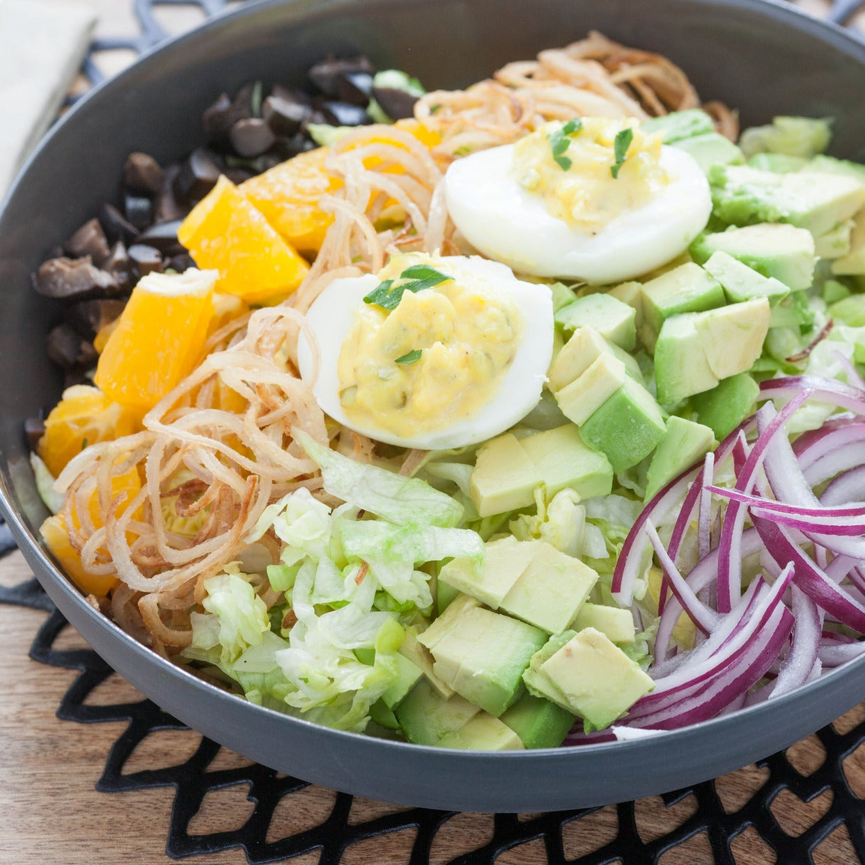 Vegetarian Cobb Salad with Crispy Shallots & Deviled Eggs