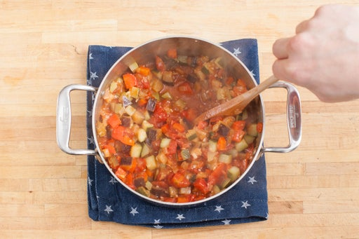 Add the tomatoes & seasonings: