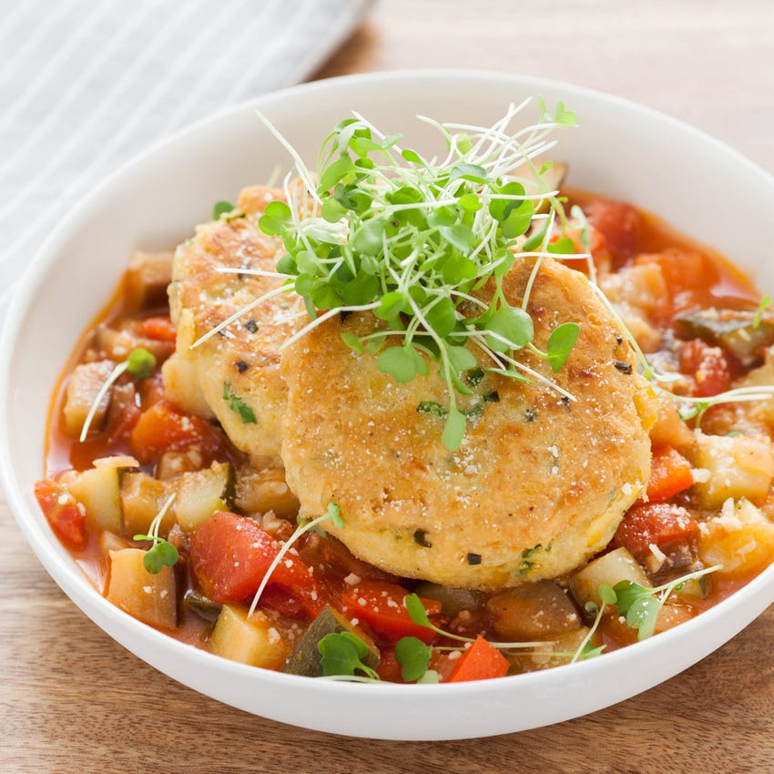Crispy Chickpea Fritters with Ratatouille