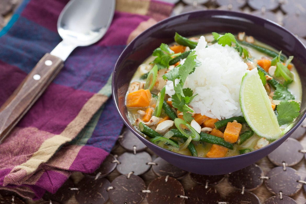 Recipe: Vegetarian Green Coconut Curry with Jasmine Rice ...