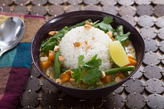 Coconut Curried Tofu With Green Jasmine Rice Recipe — Dishmaps