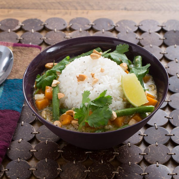Thai Green Coconut Curry with Sweet Potato, Green Beans &  Jasmine Rice