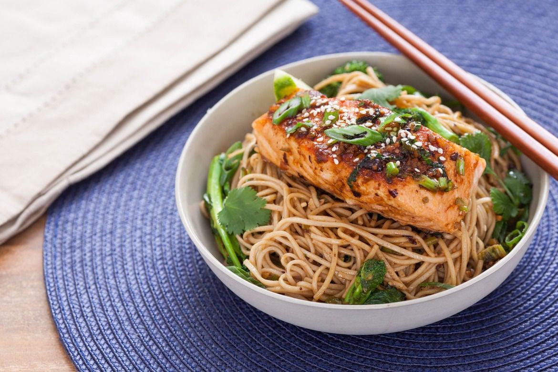 Recipe: Ginger-Soy Glazed Salmon with Broccoli Rabe & Soba Noodles ...