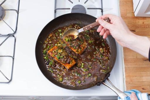 Glaze the salmon: