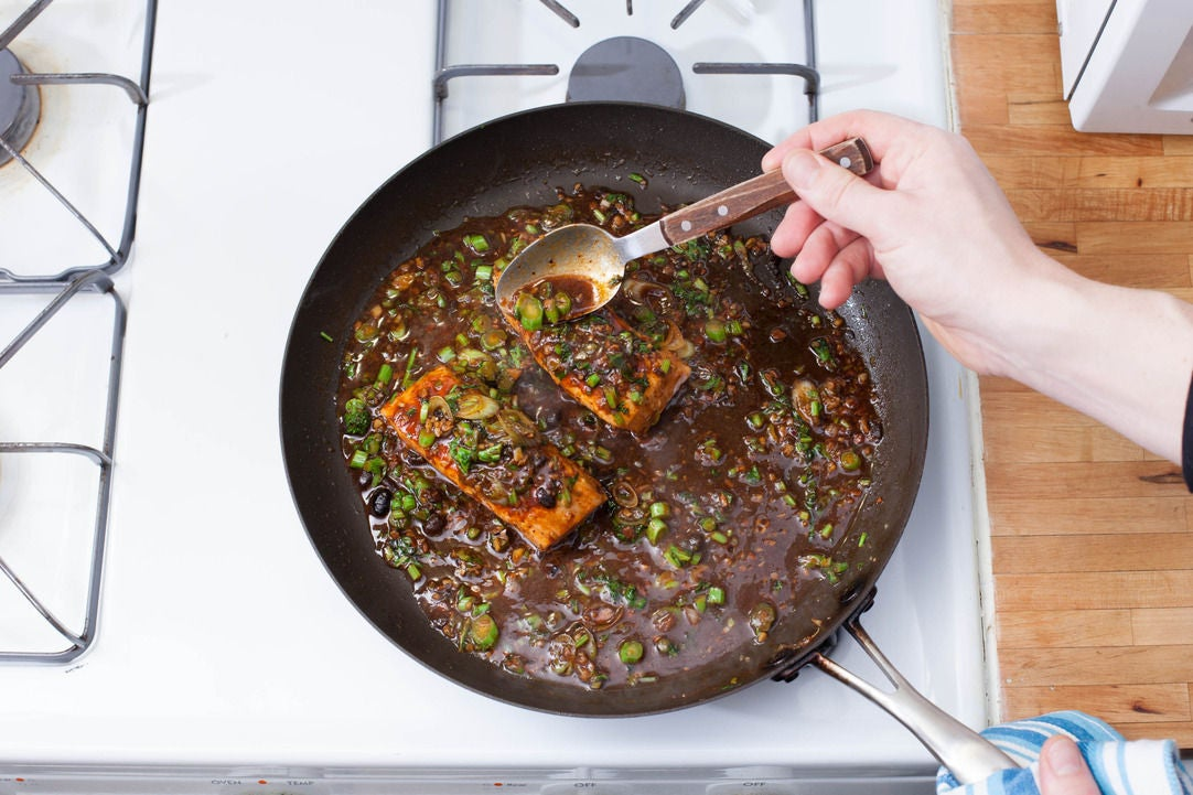 Glaze the salmon: