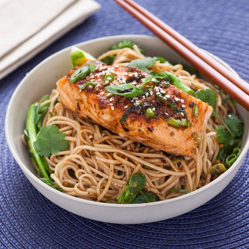 Ginger-Soy Glazed Salmon with Broccoli Rabe & Soba Noodles