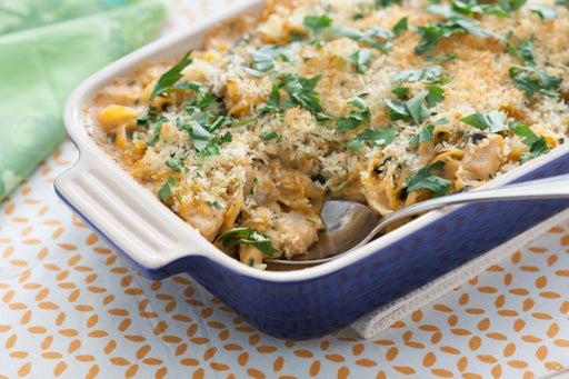 Chicken, Baby Artichoke & Spinach Casserole with Gouda Béchamel