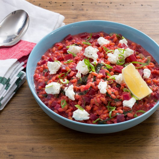 Beet & Barley Risotto with Swiss Chard & Goat Cheese