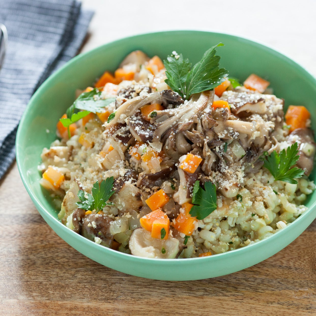 Wild Mushrooms over Barley with Toasted Breadcrumbs and Parmesan Cheese