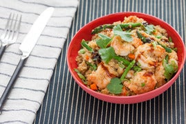 "Shrimp Quinoa ""Fried Rice"" with Asparagus & English Peas"