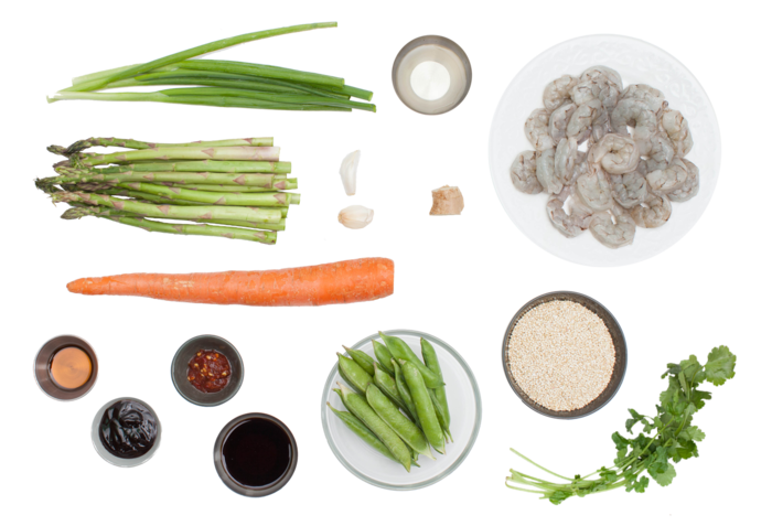 "Shrimp Quinoa ""Fried Rice"" with Asparagus & English Peas ingredients"