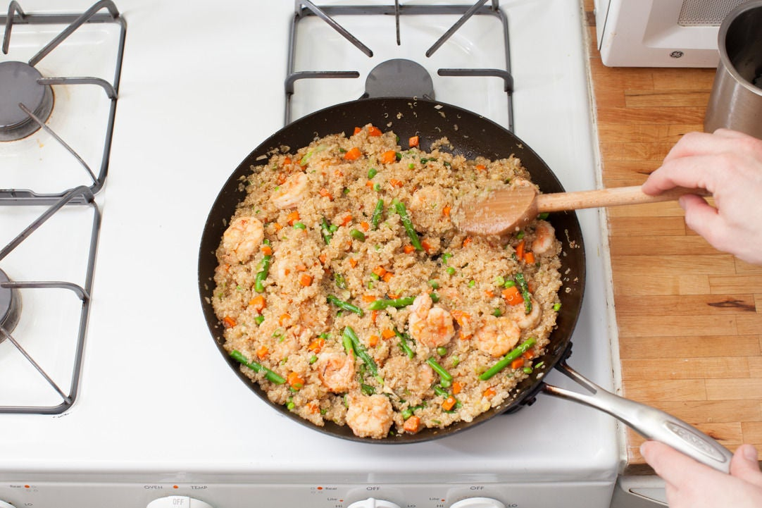 Add the shrimp, quinoa & sauces: