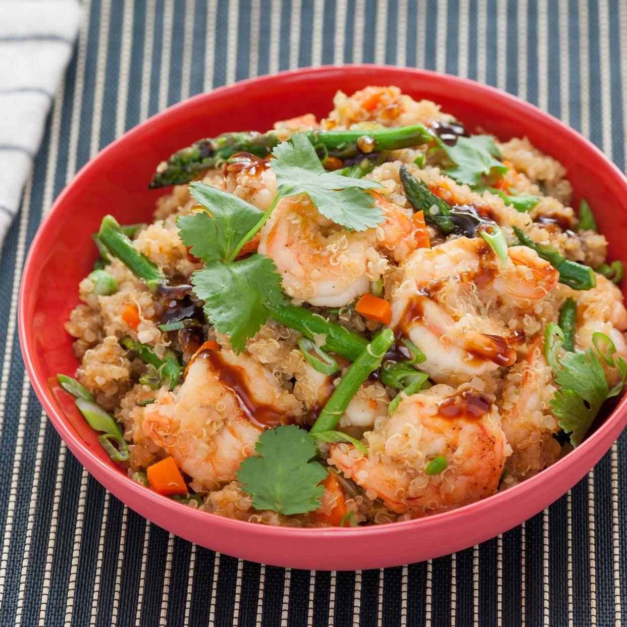 """Shrimp Quinoa """"Fried Rice"""" with Asparagus & English Peas"""