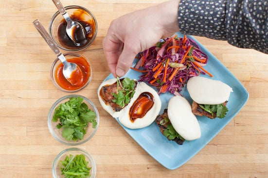Assemble the pork buns & plate your dish: