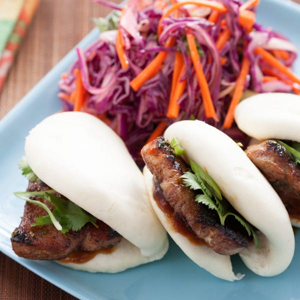 5-Spice Pork Buns with Red Cabbage, Carrot & Thai Basil Salad