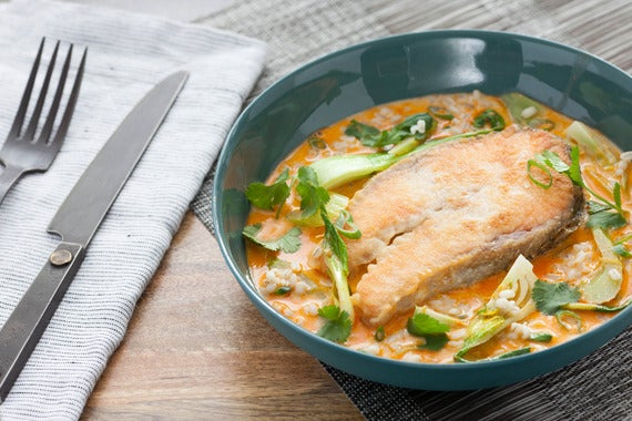 Coconut Curry Salmon Steaks with Celery & Bok Choy over Barley