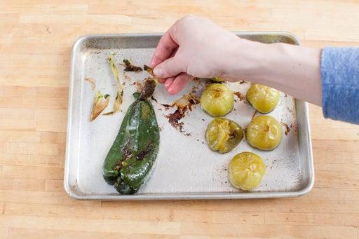 Roast the poblano & tomatillos: