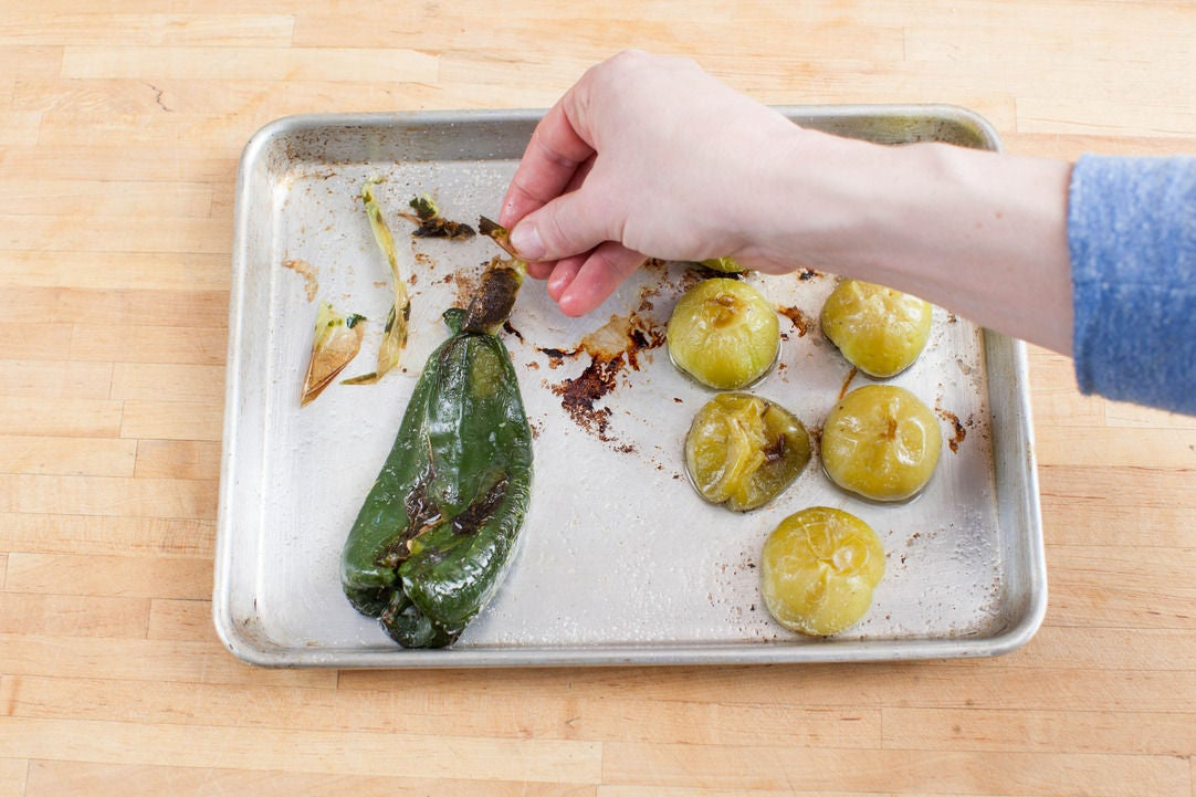 Roast the poblano & tomatillos: