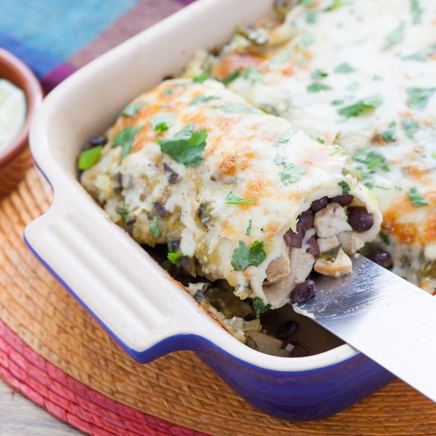 Chicken & Black Bean Enchiladas with Roasted Salsa Verde & Monterey Jack Cheese