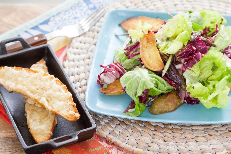 Crispy Fingerlings & Spring Salad with Toasted Emmental Baguettes