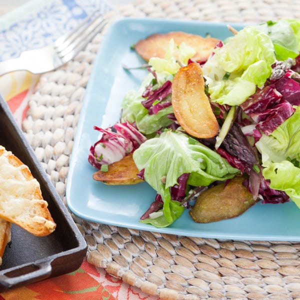 Crispy Fingerlings & Spring Salad with Toasted Emmental Baguettes