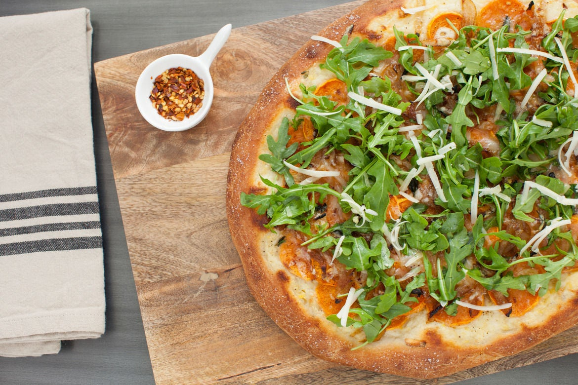 pizza pizza with arugula bacon harissa pancetta breakfast fontina ...
