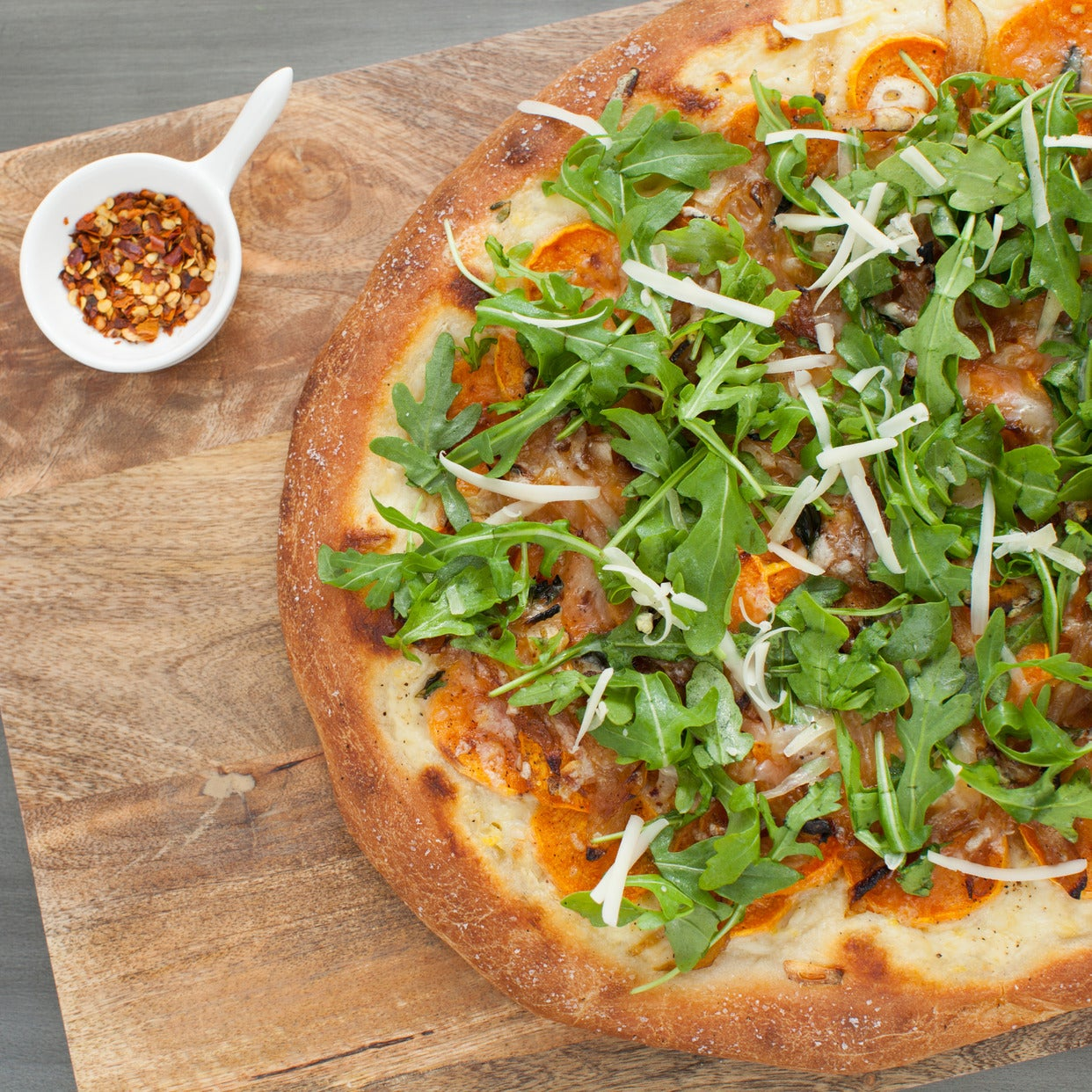 Roasted Sweet Potato & Caramelized Onion Pizza with Béchamel Sauce, Fontina Cheese & Arugula Salad
