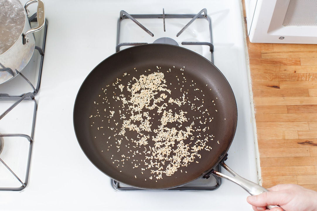 Toast the sesame seeds: