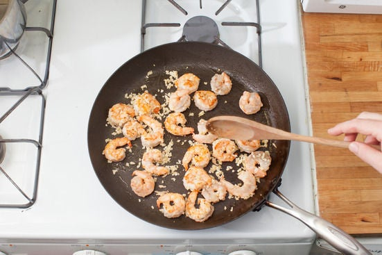 Cook the aromatics & shrimp:
