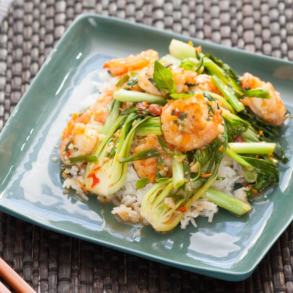 Pan-Fried Orange Shrimp with Sautéed Scallions & Bok Choy over Jasmine Rice