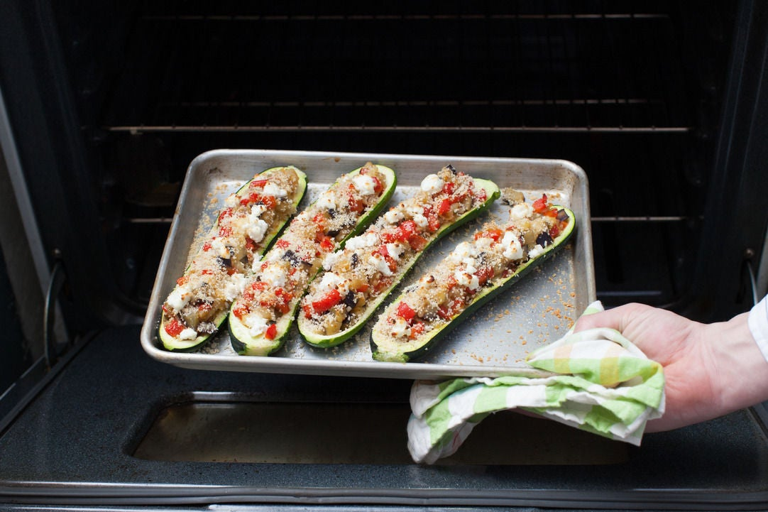 Fill & bake the zucchini: