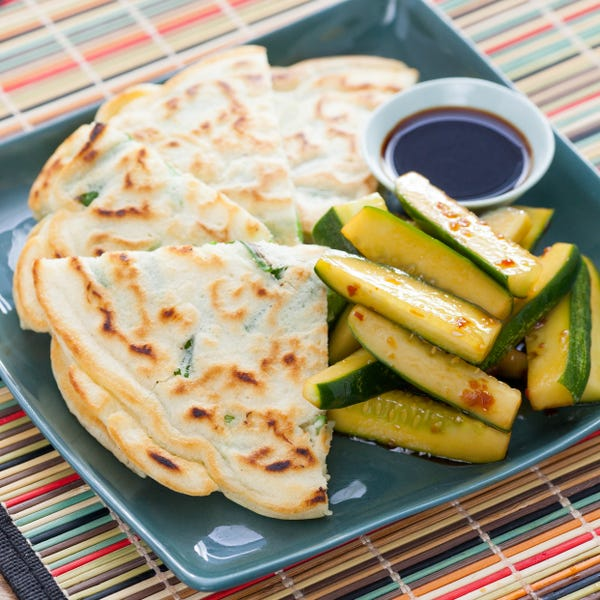 Korean-Style Scallion Pancakes with Cucumber Salad