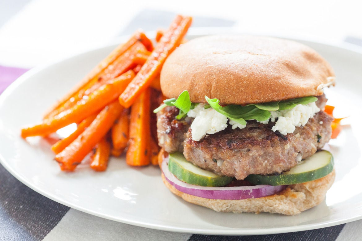 ... : Harissa-Spiced Lamb Burger with Roasted Carrot Fries - Blue Apron
