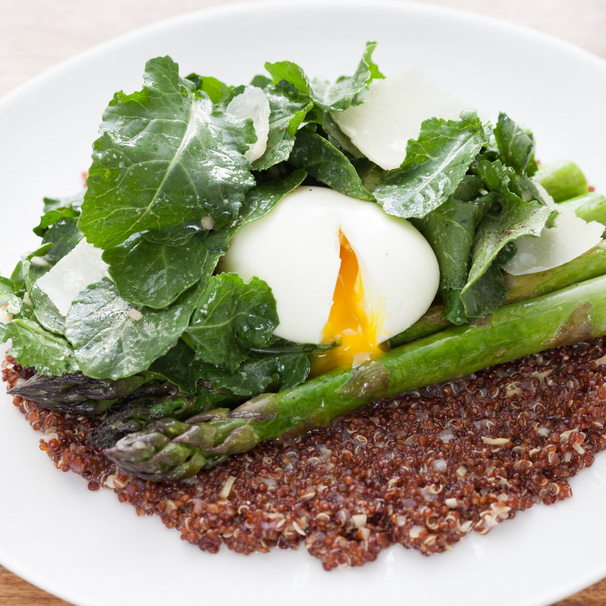Soft-Boiled Eggs over Risotto-Style Red Quinoa with Sautéed Asparagus