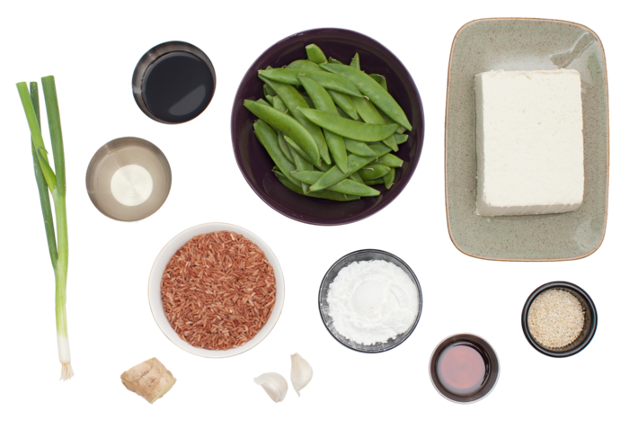 Seared Tofu & Snow Peas with Pink Sesame Rice ingredients
