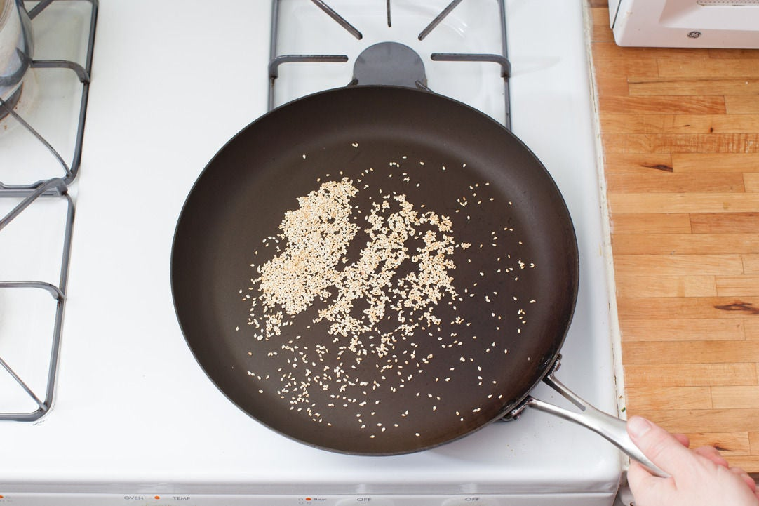 Toast the sesame seeds & make the slurry: