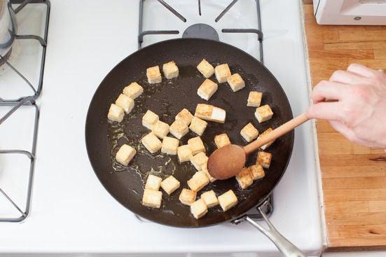 Sear the tofu: