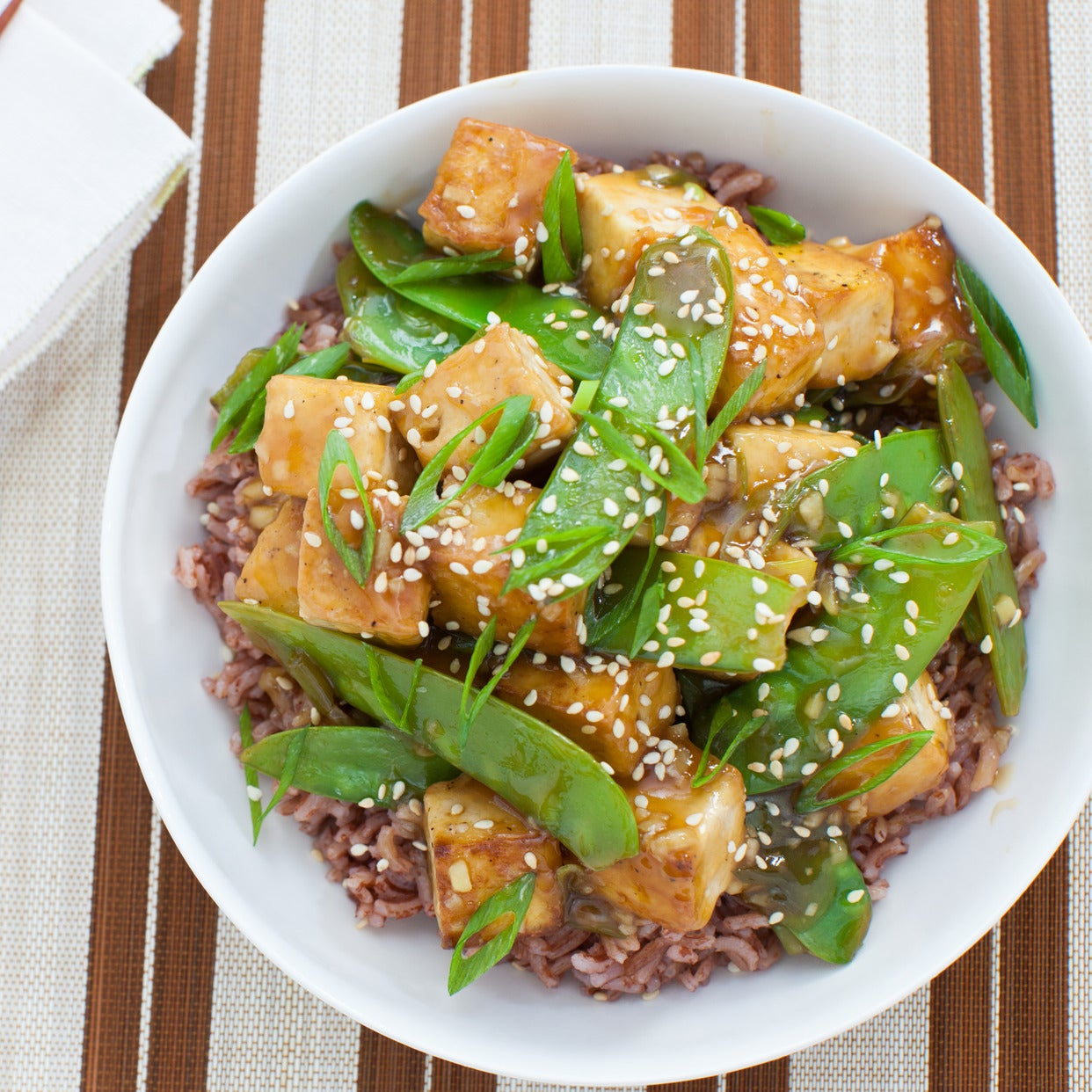 Seared Tofu & Snow Peas with Pink Sesame Rice