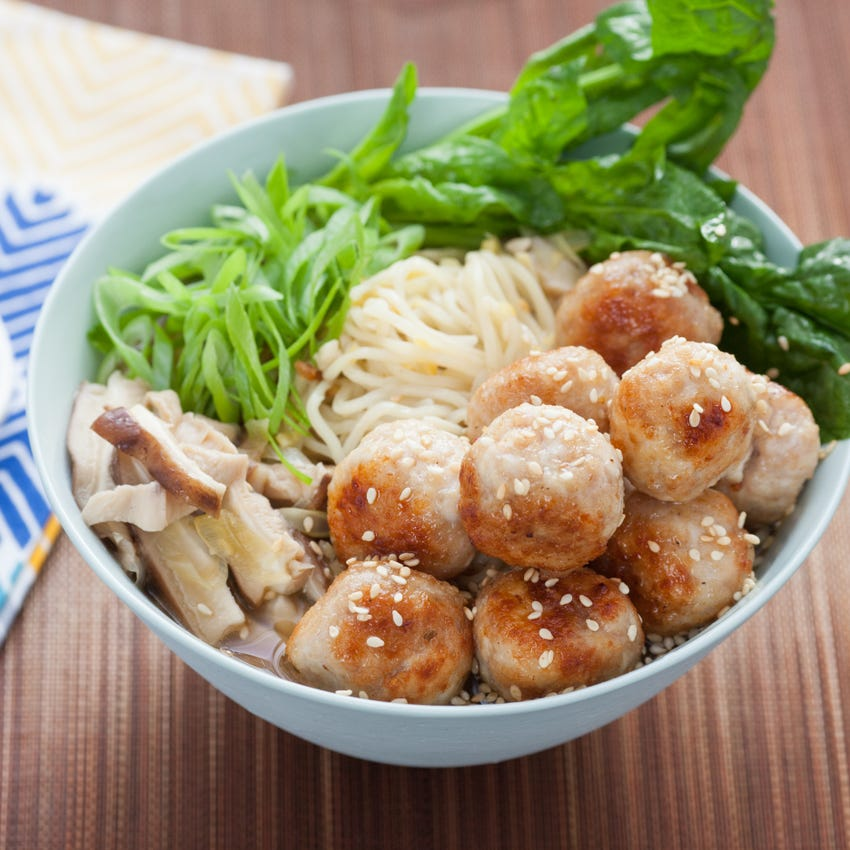 Chicken Tsukune Spring Ramen with Shiitake Mushrooms & Savoy Spinach